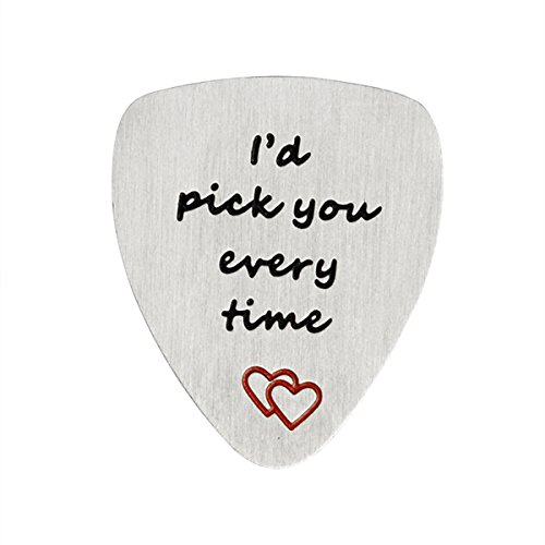 QIHOO Men Stainless Steel Guitar Pick I'd Pick You Every Time, Musical Gift, Anniversary Date, Valentine's Day, Fathers Day Gift, Gift for boyfriend or Husband