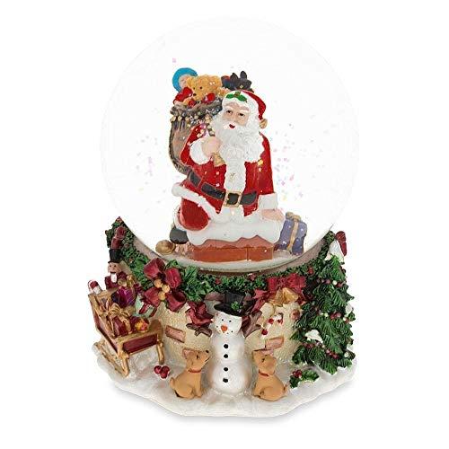 (BestPysanky Santa Climbing Chimney Musical Snow Globe)