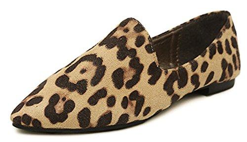 Difyou Women's Leopard Faux Suede Pointed Toe Flats Shoes Beige 9.5 B(M) US (Suede Print Flats)