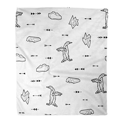 - Emvency Throw Blanket Warm Cozy Print Flannel American Black and White Kids Tribal Pattern Penguins Arrows Animal Comfortable Soft for Bed Sofa and Couch 50x60 Inches