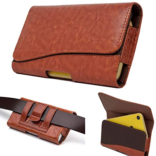 AISCELL Wallet Pouch Tan Leather Pouch Case Card Slot Belt Holster 6.6X3.6X0.6 Inches Fits Phone with Galaxy Note 10 Plus,S10 Plus,Note 9,Note 8,S8 Plus,S9 Plus, A50,A20 with Hybrid Case Cover