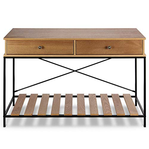 Wood and Metal Vintage Console Table with Criss-Cross in Brown/Antique Bronze Furniture - Glass Console Demilune Table