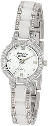 Armitron Women's 75/3919WTSV Swarovski Crystal Accented Silver-Tone and White Ceramic Watch