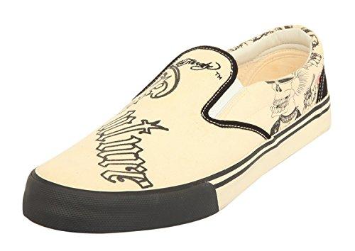 Ed Hardy Hommes Sneakers beige-noir 17DK105M-PUNKCREAM