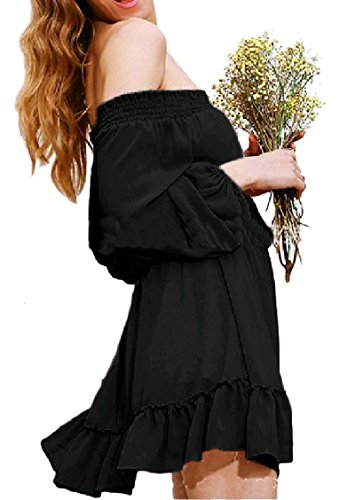 Stylish Off Shoulder Women Cocktail Coolred Black Color Dress Chiffon Pure I1qRY
