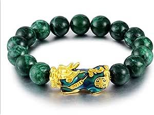 Ikben Jade Stone Bracelet With Lucky InchBrave Troops Inch, 15 Beads Charm Bracelet-ST0742