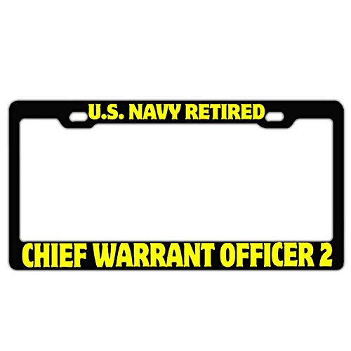 FunnyLpopoiamef US Navy Retired Chief Warrant Officer 2 Black Custom License Plate Frame Stainless Steel License Plate Covers for US Vehicles Humor 2 Hole and ()