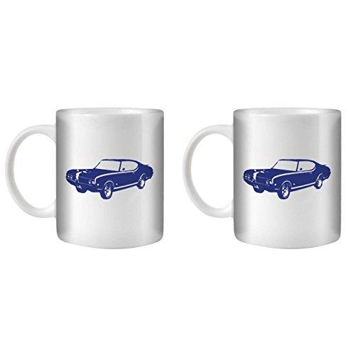 STUFF4 Tea/Coffee Mug/Cup 350ml/2 Pack Blue/Hurst Olds 442 Muscle/White (Oldsmobile 442 Hurst Set)
