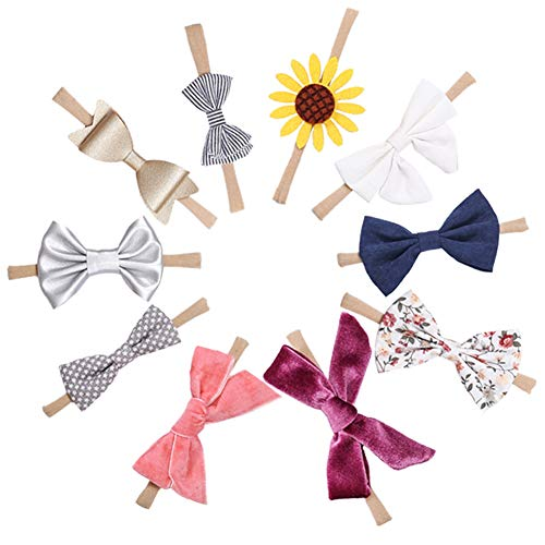 Rabbit Ears Cloth Bow-Stretch Headbands for Baby Toddler Girls Birthday, Party,Shower (Multicolored ()