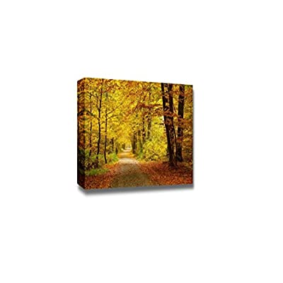 Canvas Prints Wall Art - Pathway in The Autumn Forest with Yellow and Red Leaves, Modern Home Deoration/Wall Decor Giclee Printing Wrapped Canvas Art Ready to Hang - 32