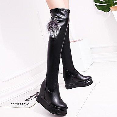 RTRY Zapatos De Mujer Otoño Invierno Pu Confort Botas De Tacón Plano Sobre La Rodilla Botas Para Casual Negro Negro Us6 / Ue36 / Uk4 / Cn36 US5.5 / EU36 / UK3.5 / CN35