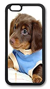 iPhone 6 4.7inch Case and Cover Dachshund Puppy In Blue Shirt TPU Silicone Rubber Case Cover for iPhone 6 4.7inch Black