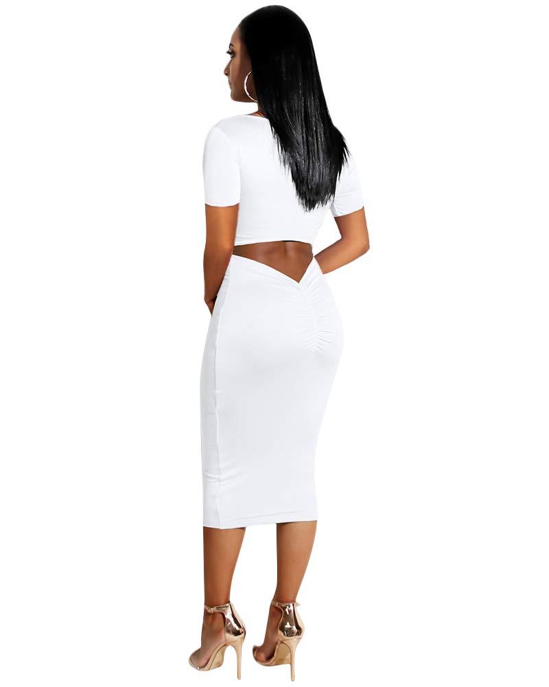 Women\'s Short Sleeve Bodycon Dresses - Elegant Hollow Out Solid Slim Midi Dress Large White