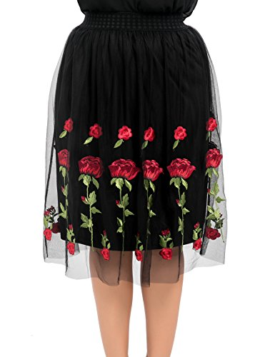 Mesh Full Skirt (Chicwe Women's Full Stretch Waist Embroidery Plus Size Mesh Skirt Size Black%&Red 3X)