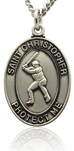 Christopher Baseball - St Christopher Baseball Medal in Sterling Silver With Rhodium Plated Nickle Necklace