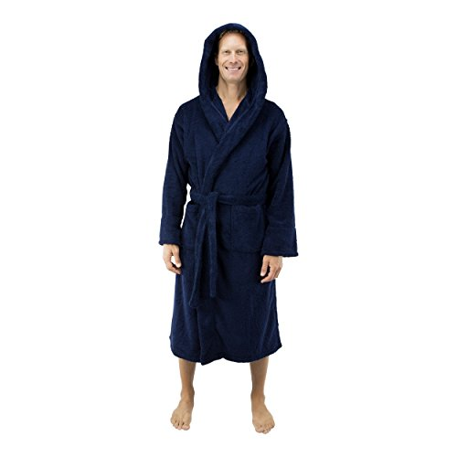 Comfy Robes Personalized Men's Deluxe 20 oz. Turkish Cotton Hooded Bathrobe, XXL Navy - Deluxe Cotton Black Belt