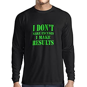 Long Sleeve t Shirt Men I Make Results - Lose Weight Fast Quotes and Muscle Builder Motivational Sayings (X-Large Black Green)