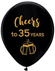 Black cheers to 35 years latex balloons, 12inch (16pcs) 35th birthday decorations party supplies for man and woman