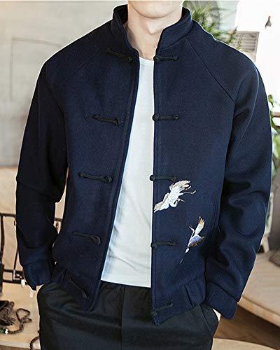 Chemise Style Manteau En Chinois Décontracté 2 Veste Broderie Marine Parka Lin Costume Tang Chaud 0zvxd0rq