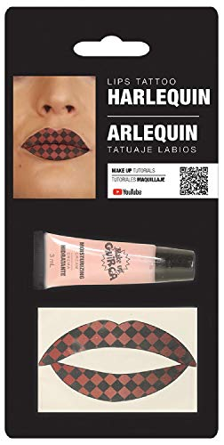 - Ladies Halloween Harlequin Check Print Lip Transfers Lip Stick Make Up Special Effects Face Paint Fancy Dress Costume Outfit Accessory (Harlequin Check)