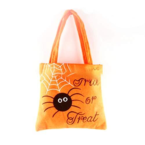 Treat or con tempo 1 Trick durevole Tessuto Candy Bag Tote Stampato Bag Halloween di Bag feste tessuto la Rocita di ragno ragno regalo Candy maniglia Big di Halloween non Halloween P70xq7