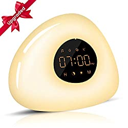 Elfeland Wake Up Light LED Alarm Clock with Sunrise/Sunset Simulation LED Clock with Snooze Function,10 Natural Sounds,7 Colors,8 Scene Lights Dimmable Bedside Lamp for Kids Adults Bedroom