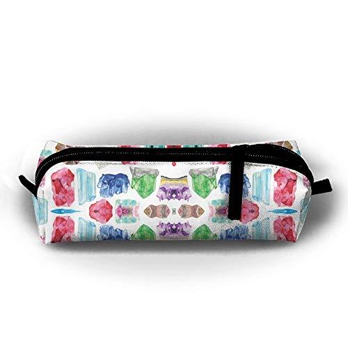 QQMIMIG Watercolor Gemstones Birthstones Pattern Pen Bag Makeup Pouch Zipper Box Office Organizer Bag Pencil Case