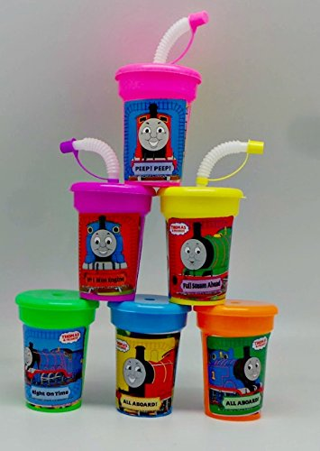 ONE STOP 6 Thomas The Tank Engine Stickers Birthday Sipper Cups with lids Party Favor Cups