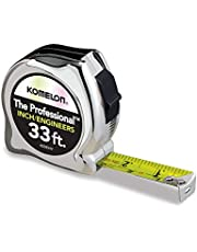 Komelon 433IEHV High-Visibility Professional Tape Measure both Inch and Engineer Scale Printed 33-feet by 1-Inch, Chrome