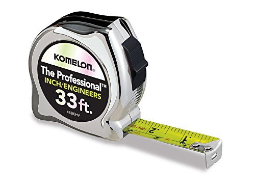 Komelon 433IEHV High-Visibility Professional Tape Measure both Inch and Engineer Scale Printed 33-feet by 1-Inch, ()