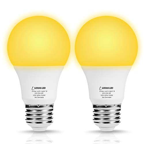 - LOHAS Sleep Aid Light Bulbs, A19 LED Yellow No Blue Night Light Bulb, 6Watt Good Night Bulb, Warm 2500K 40W Equivalent E26 Medium Base Sleeping Lamps, Not-Dim for Nursery, Restroom(2Pack)