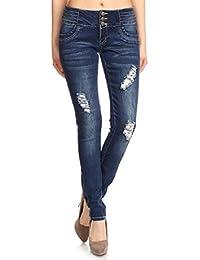 Womens Super Stretch Ripped Distressed Butt Lifting Skinny Denim Jeans