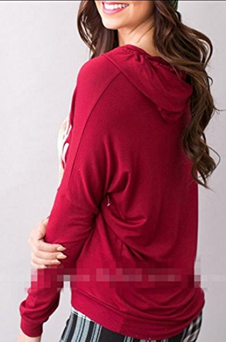 Hooded Blouse Red Sleeve amp;W Women Pullover amp;S Print M Letter Christmas Hoodies Long qgPat7x