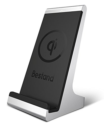 Bestand 2-coil QI Wireless Charging Dock Charger Stand for iPhone 8/X/8 Plus and All Qi-Enabled Phones, Silver