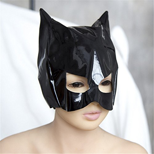 Hihappiness Half Face Adjustable Leather Studded Cat Mask Custumes Accessories for Party]()