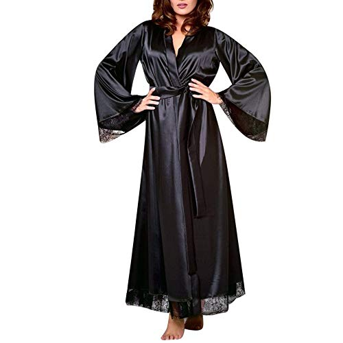 GLVSZ Women Long Silk Kimono Dressing Gown Bath Robe Babydoll Lingerie Nightdress Black