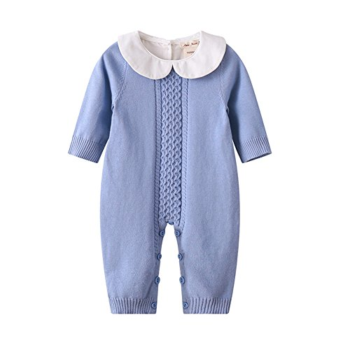 (Baby Boy Girl Long Sleeve Peter Pan Collar Knit Romper Newborn Boy Outfit Clothes Twin Baby Clothing Baby Jumpsuit Spring 2019)