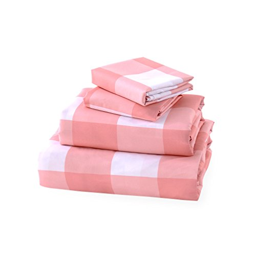 Luxe Bedding Sets - Microfiber Full Sheet Set 4 Piece Bed Sheets, Pillow Cases, Flat Sheet, Deep Pocket Fitted Sheet Set Full Size - Gingham - Comforter Pink Gingham