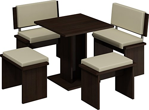 5 Pc Breakfast Kitchen Nook Table Set, Bench Seating, Dark Oak with Beige (Breakfast Booths For Kitchens)