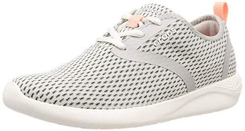 Crocs Women's LiteRide Mesh Lace-Up Sneaker, Pearl White/White, 7 M US
