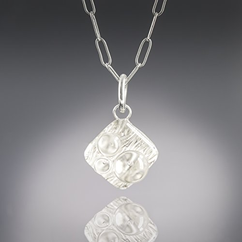 "Silver Metal and Glass Modern Geometric 18"" Pendant Necklace – Woven (Glass Textured Sterling Silver Necklace)"