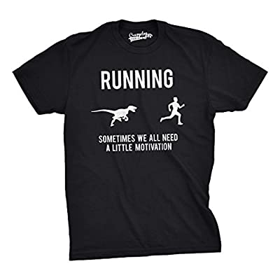 Mens Running Motivation Raptor Chase T Shirt Funny Dinosaur Tee For Guys from Crazy Dog Tshirts