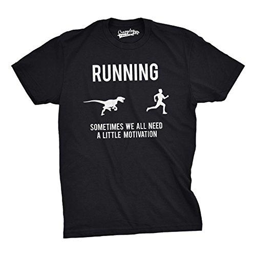 Mens Running Motivation T shirt Funny Running T shirts Sarcasm Humor Run Novelty Tees (Black) L