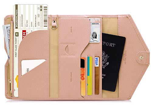 Zoppen Multi-purpose Rfid Blocking Travel Passport Wallet (Ver.4) Tri-fold Document Organizer Holder (#26 Carnation Pink) (Cool Design Laptop Case)