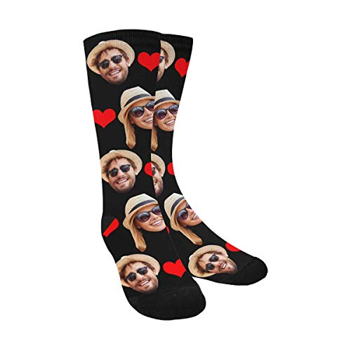 (Custom Personalized Photo Pet Face Printed Red Love Heart Black Crew Socks with 2 Faces for Men Women)