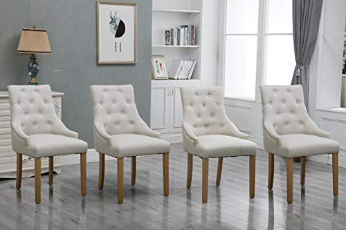 HomeSailing Set of 4 Beige Dining Room Armchairs Only with Button Trim Fabric Upholstered High Back Kitchen Chairs Side Chairs with Armrest for Bedroom Living Room Oak Wood Legs Chairs (Beige)