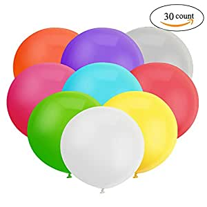 GuassLee 18 Inch Big Balloon Assorted Latex Giant Balloon Jumbo Thick Balloons for Photo Shoot/Birthday/Wedding Party/Festival/Event/Carnival Decorations 30ct/Pack
