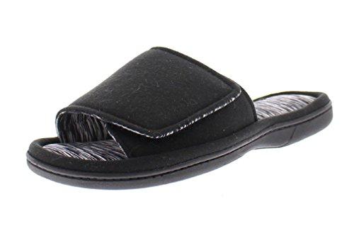 Wide Slide (Gold Toe Women's Astra Adjustable Velcro Strap Open Toe Slide Memory Foam Flip Flop Slipper House Shoes Black XL 10-11 US)