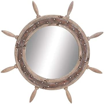 Deco 79 Wood Ship Wheel Mirror, 29-Inch