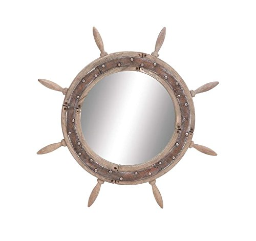 Ships Mirror - Deco 79 Wood Ship Wheel Mirror, 29-Inch